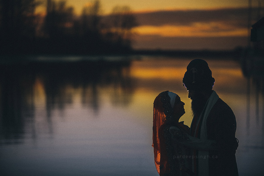 Sikh Bride & Groom Portrait at Sunset
