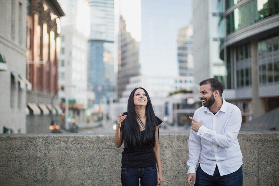 Downtown Vancouver Laughing Engagement Photos